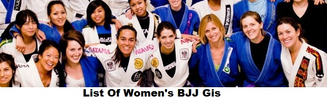List Of Women's BJJ Gis