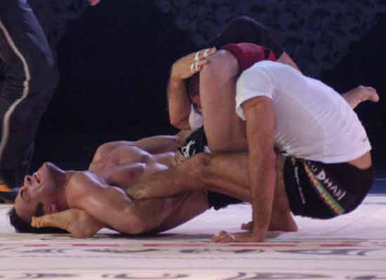 Eddie vs Royler 2003 ADCC. Both wore shorts. Shorts or shirts couldn't be grabbed.