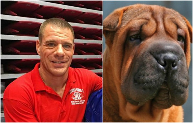 Rafael Lovato ad a Sharpei dog