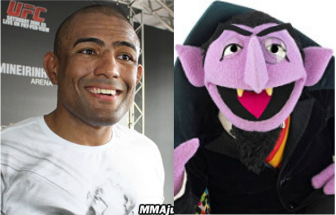 Sergio Moraes and Count Dracula from Sesame street
