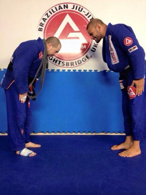 Leão Marinho receiving his black belt from Lagarto