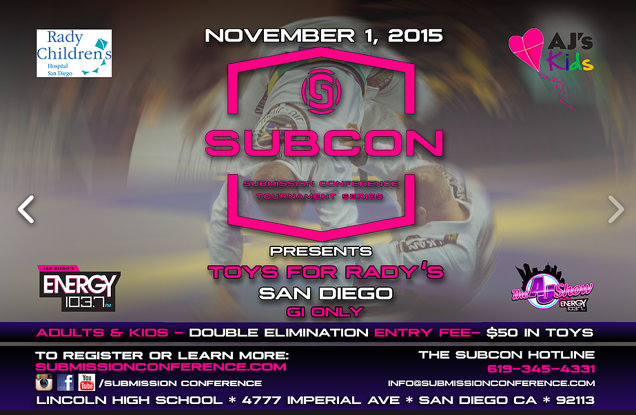SUBCON Jiu-Jitsu Tournament For Charity November 1, 2015 in San Diego