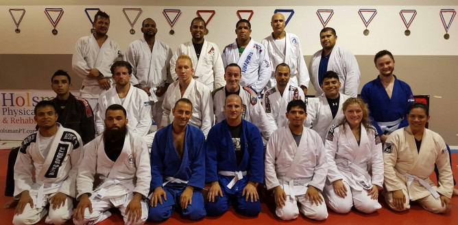 Author Mike Mrkulic and his students all wearing a white belt in September