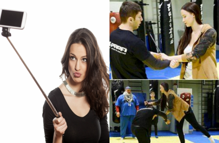 Selfie Stick Self Defense Being Taught by Martial Arts School