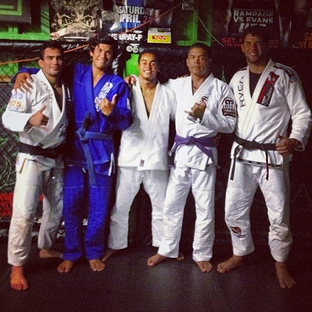 Kala Alexander with purple belt training with Buchecha and Lucas Leite