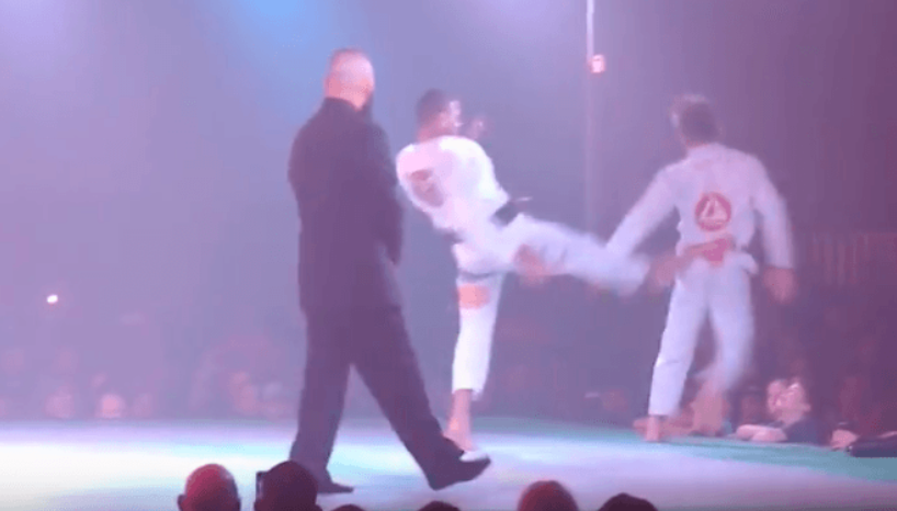 Vagner Rocha Spartan Kicks AJ Agazarm off the Stage