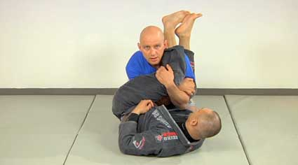 Figure 3. Stacking is a good way to defend the armbar from the closed guard. Learn counters for the submissions you're having trouble with.