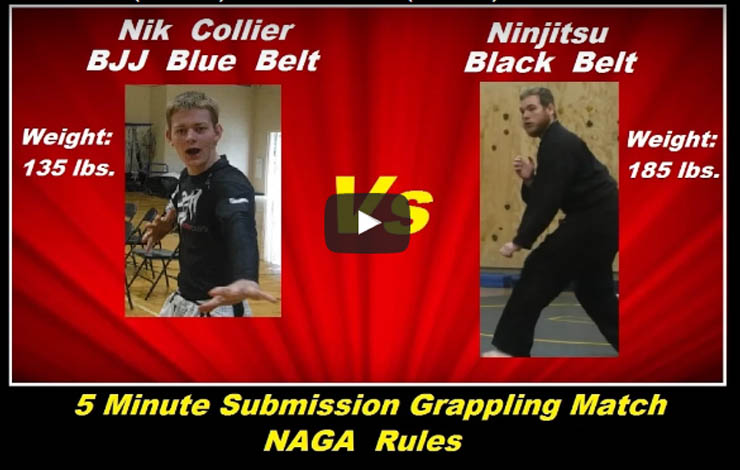 [Video] 17 year old BJJ Blue Belt (135 lbs.) versus Ninjitsu Black Belt (185 lbs.)