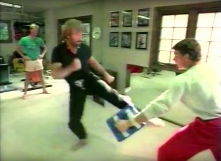 Jean-Claude Van Damme and Chuck Norris training together