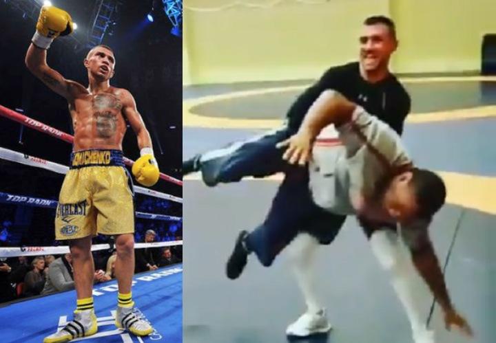 Boxing Champ Vasyl Lomachenko Shows Off His Wrestling Skills