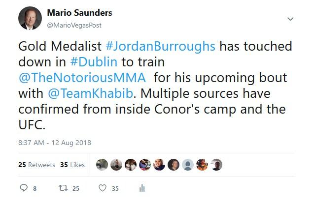 McGregor Flying In Wrestling Olympic Champ Jordan Burroughs to train