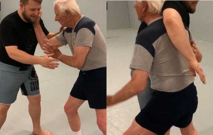 84 Year Old Wrestler Shows Off Moves on Purple Belt Grandson