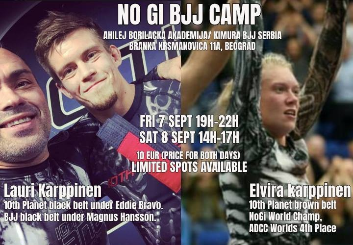 NO GI BJJ CAMP w/ Lauri & Elvira Karppinen 10th Planet Jiu-Jitsu in Belgrade, Serbia