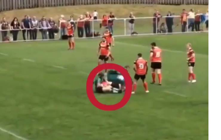 Rugby Player Heelhooks Opponent In Rugby Match