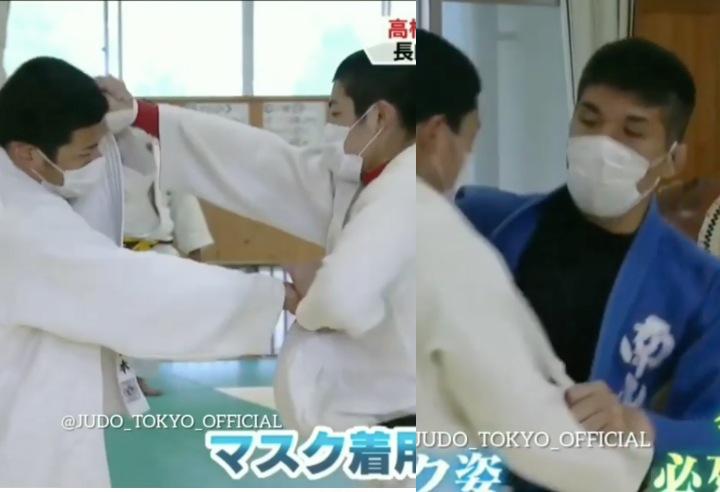 Japanese Judoka Go Back To Training Using Face Masks & Hand Sanitizer