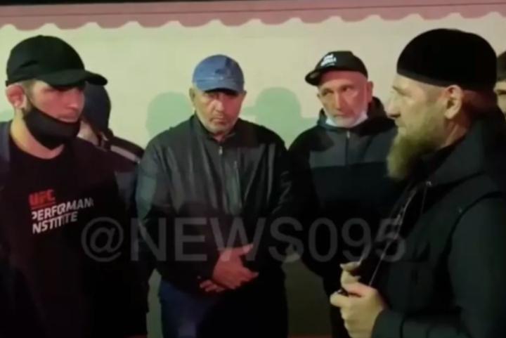 Chechen Leader Ramzan Kadyrov Consoles Khabib Nurmagomedov During Father's Funeral