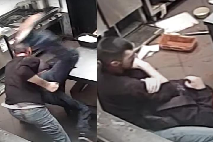 Fast Food Employee Deals with Man Wielding Butchers Knife By Taking Him Down & Rear Choke