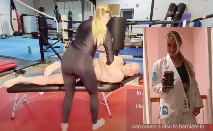 Female Chiropractor & BJJ Practitioner Massages & Cracks BJJ Brown Belt's Neck
