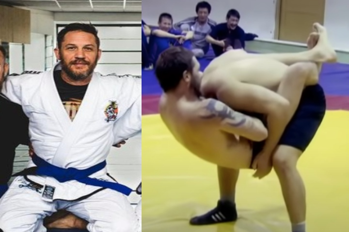 Watch: Actor Tom Hardy Shows His BJJ Blue Belt Skills Grappling with Russian