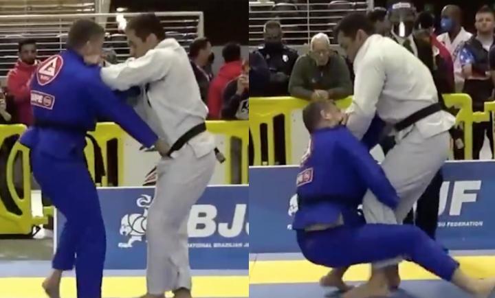 Black Belt Standing Cross Collar Choke in BJJ Tournament