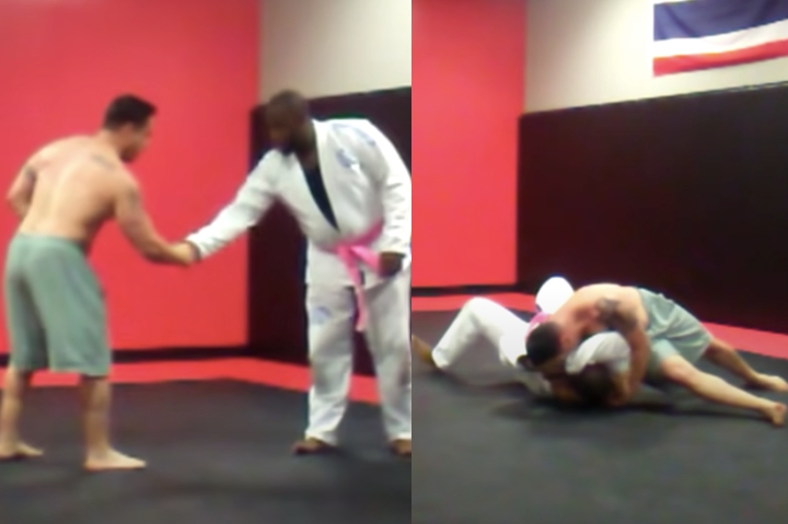 Wrestler Was Lifting Weights at the Gym Gets Challenged By BJJ Guy Wearing Pink Belt
