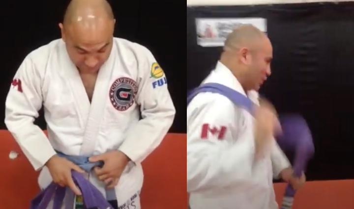 Guy Promotes Himself to New Belt in BJJ & Gives Himself a Gauntlet