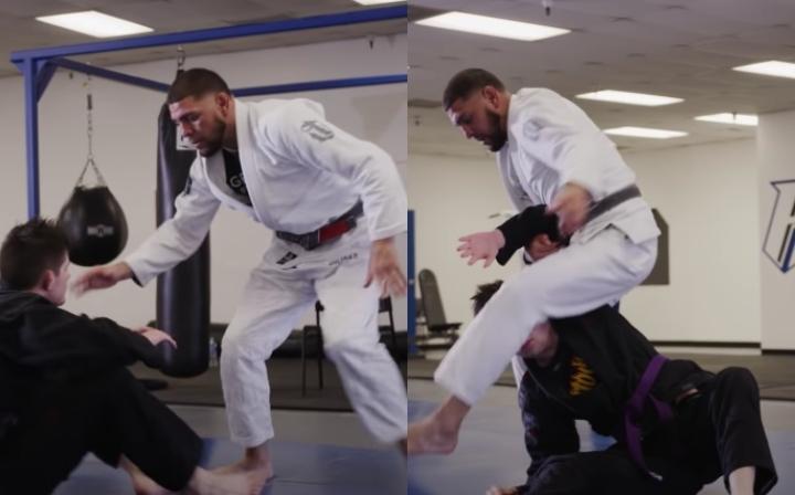 Nick Diaz Teaches Unexpected Cartwheel Guard Pass To Triangle