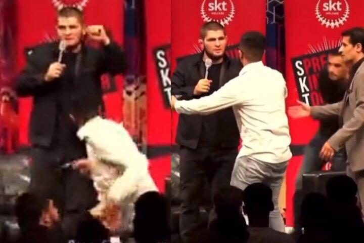 Guy Leaps on Stage to Attack Khabib Nurmagomedov: Khabib Doesn't Even Flinch